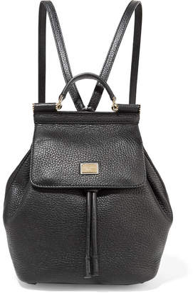 6b8fe7afbc ... Dolce   Gabbana Sicily Small Textured-leather Backpack - Black