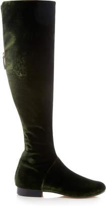 Alberta Ferretti Knee-High Velvet Boot