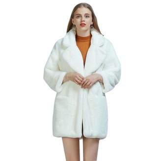 sweetyhomes Fashion Imitation Rabbit Furry Fur Coat Faux Fur Long Suit Collar Coat Women