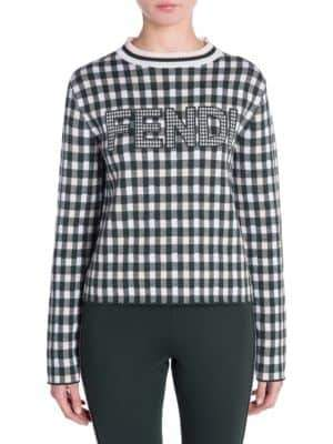 Fendi Logo Check Knit Sweater