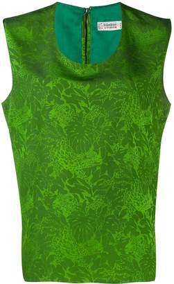 Saint Laurent Pre-Owned leaf print sleeveless blouse
