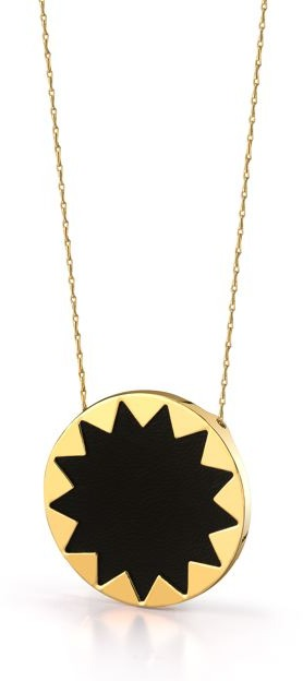 House Of Harlow Black Leather Starburst Pendant Necklace