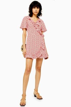 Topshop TALL Floral Ruffle Wrap Mini Dress