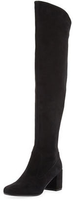 Vince Blythe Suede 75mm Over-the-Knee Boot, Black $695 thestylecure.com
