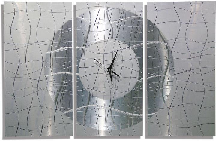 Etsy HUGE SALE!! Large Silver Modern Metal Wall Clock, Modern Metal Wall Art, Abstract Hanging Wall Cloc