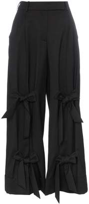 Simone Rocha bow embellished wool blend wide leg trousers