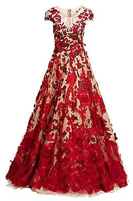 Marchesa Women's Floral Appliqué Tulle Ball Gown