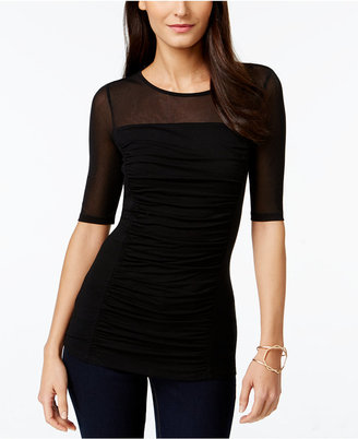 INC International Concepts Ruched Illusion Top, Only at Macy's $39.50 thestylecure.com