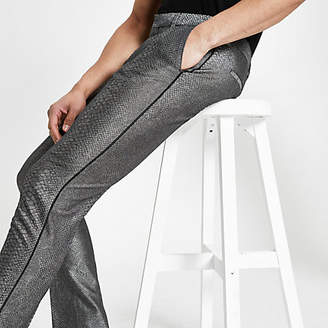 River Island Grey snake skin smart skinny trousers