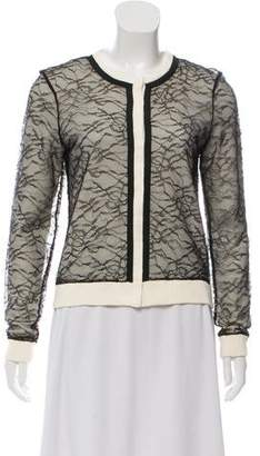 Behnaz Sarafpour Lace-Accented Knit Cardigan
