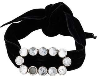Saint Laurent Crystal Buckle Velvet Choker Necklace