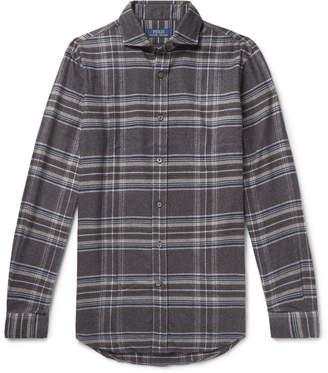 Polo Ralph Lauren Cutaway-Collar Checked Wool-Flannel Shirt