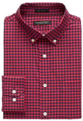 Banana Republic NEW Slim-Fit Tech-Stretch Gingham Print Shirt
