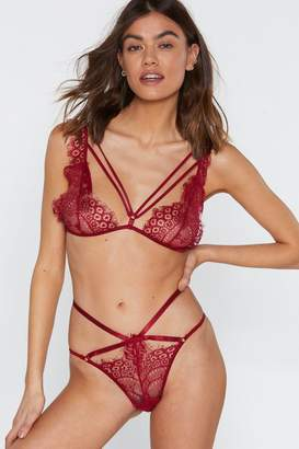 2341c7df50e58e Nasty Gal Burning Up Strappy Lace Bralette and Panty Set