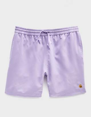 Carhartt Wip Chase Poly Swim Trunk in Soft Lavender/Gold