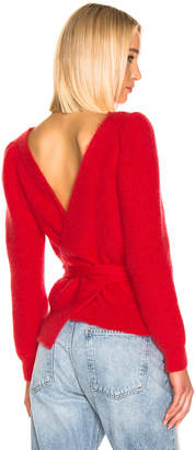 ALEXACHUNG Open Back Sweater in Red | FWRD