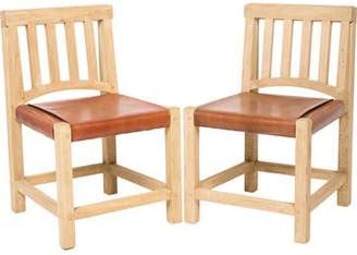 Ralph Lauren Pair of Leather & Wood Side Chairs