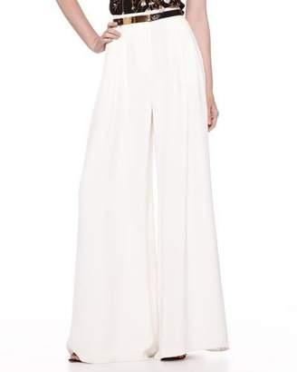Carolina Herrera Silk Wide-Leg Pants, Ivory