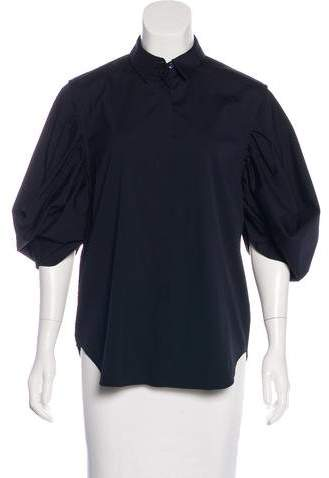 Christian Dior Bubble Sleeve Button-Up Top