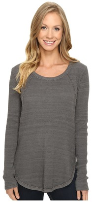Mod-o-doc Space Dye Thermal Raw Edge Seamed Tunic $98 thestylecure.com