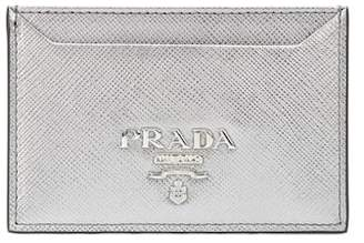 Prada Metallic leather card holder