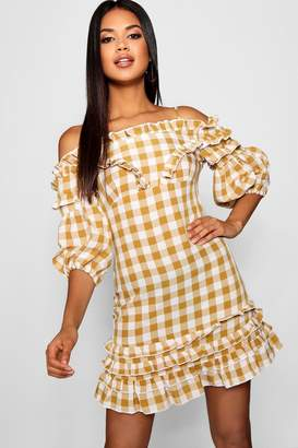 boohoo Ruffle Front Off The Shoulder Gingham Mini Dress