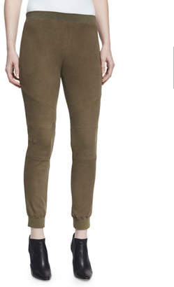 ATM Anthony Thomas Melillo Stretch Suede Track Pants, Army