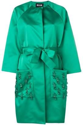 MSGM crystal-embellished belted coat
