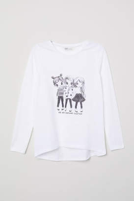 H&M Top with Motif - White