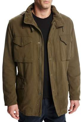 Vince Cotton Hooded Shearling-Lined Army Coat, Olive