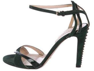 Valentino Seude and Patent Leather Rockstud Sandals
