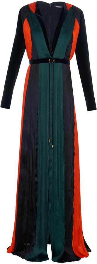 BalmainBALMAIN Pleated silk-chiffon gown