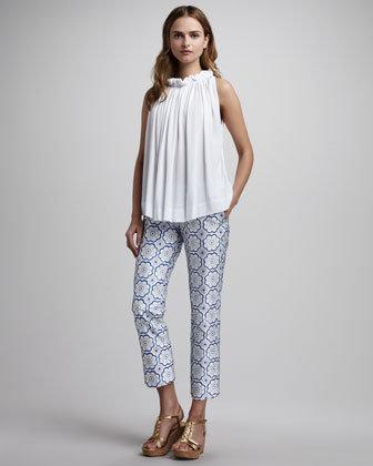 Diane von Furstenberg Georgia Petal-Print Silk Pants