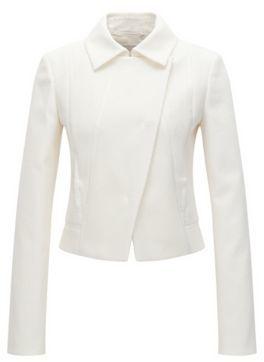 Hugo Boss Jabina Cotton Textured Jacket 6 Natural $575 thestylecure.com