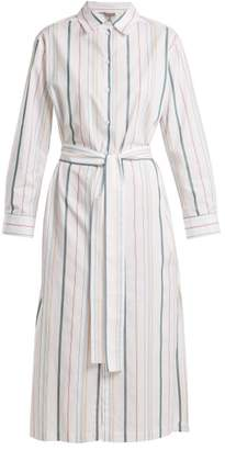Asceno - Point Collar Striped Cotton Shirtdress - Womens - White Stripe