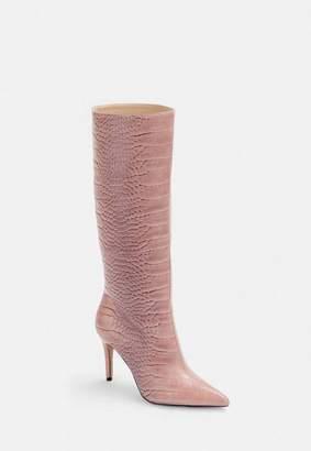 Missguided Pink Mock Croc Mid Heel Knee High Boots