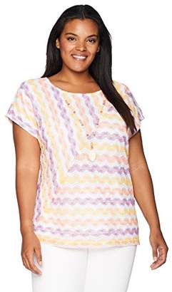 Alfred Dunner Women's Plus-Size Mitered Texture Stripe W/Necklace Top