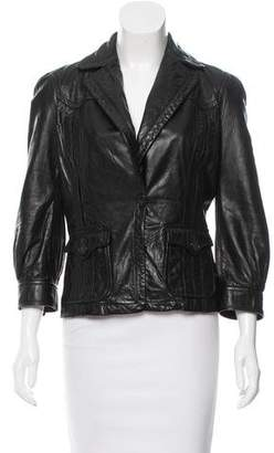 Just Cavalli Leather Notch-Lapel Jacket