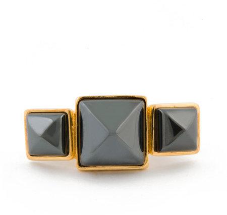 Kara by Kara Ross HematiteTriple Gemstone Ring