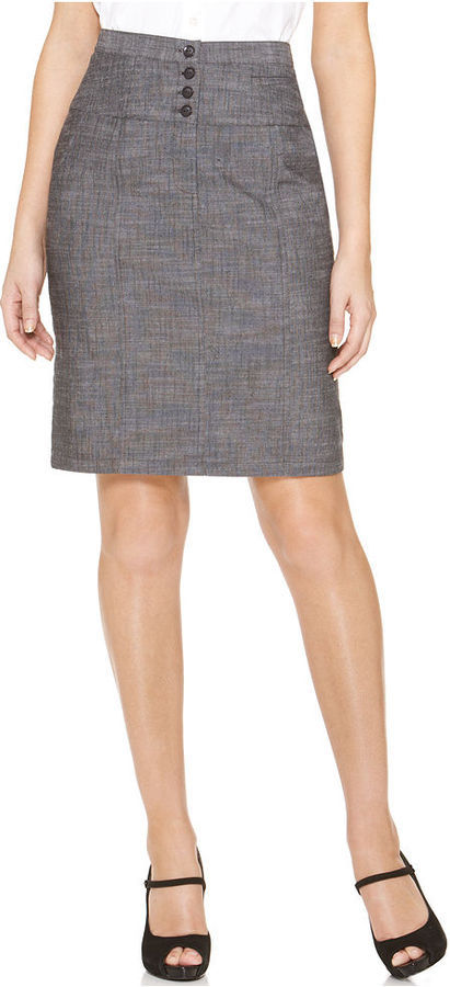 Amy Byer Petite Skirt, Textured High Waist Button Pencil