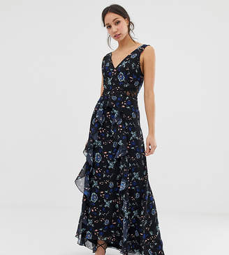 bc0efdabf9f9 Little Mistress Tall floral lace plunge front maxi dress in black multi