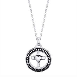 Footnotes Silver Round with A Cross Pendant Necklace