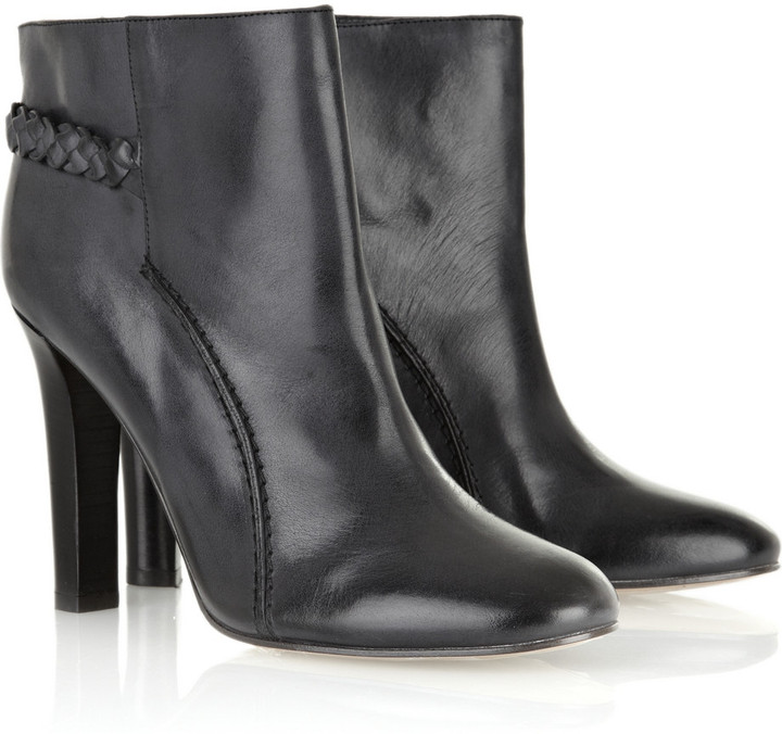 Chloé Braid-detail leather ankle boots
