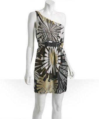 Haven dark grey floral silk 'Nice' one shoulder dress