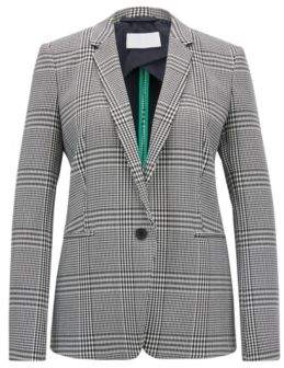 BOSS Hugo Single-button blazer in Glen-check stretch fabric 8 Patterned
