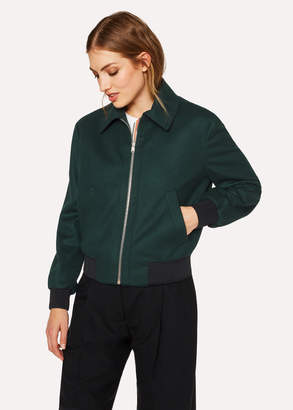 Paul Smith Women's Dark Green Wool And Cashmere Bomber Jacket