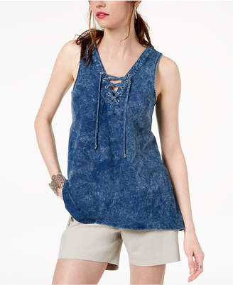INC International Concepts I.N.C. Cotton Lace-Up Tank Top, Created for Macy's