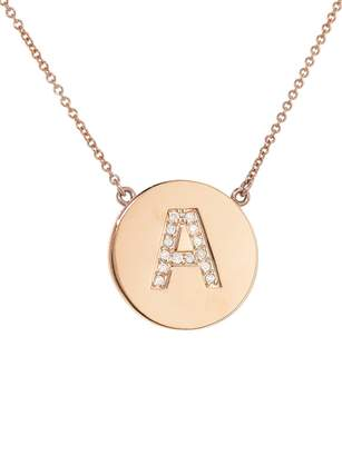 Jennifer Meyer Diamond Letter Pendant Necklace - Rose Gold