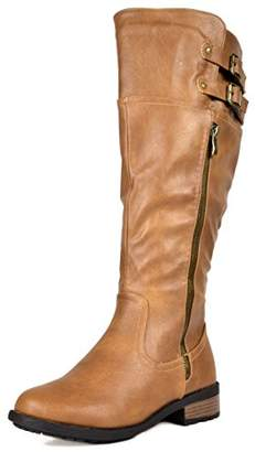 DREAM PAIRS Women's Bradenn Camel Knee High Motorcycle Riding Boots Wide Calf Size
