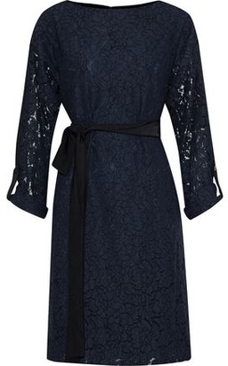 Mikael Aghal Two-tone Guipure Lace And Washed-crepe Dress